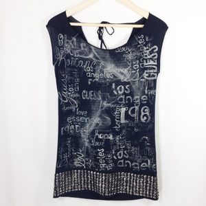 Guess Graphic T-Shirt With Silver Studs S